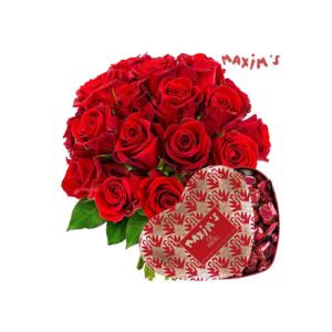 bouquet de fleurs et de chocolats
