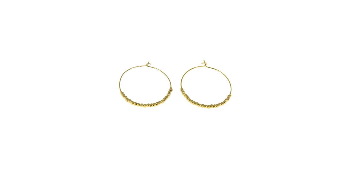 Boucles d'oreilles créoles et perles plaqué or Les Cléias