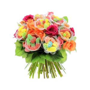 Bouquet de fleurs et de bonbons