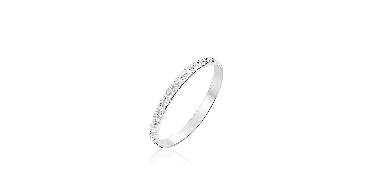Alliance Fantaisie Diamantée ruban plat or blanc