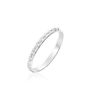 Alliance Fantaisie Diamantée ruban plat or blanc