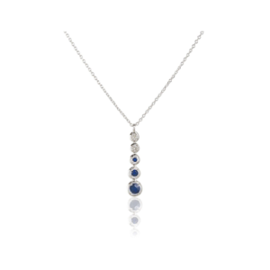 Collier Joséphine or blanc saphir et diamant