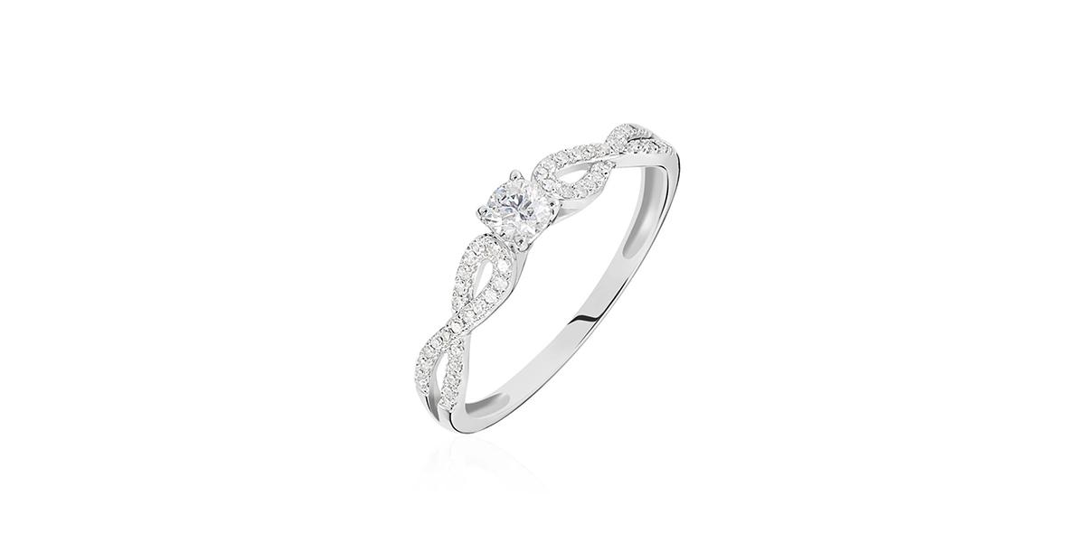 Bague solitaire Livia or blanc diamant