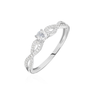 Bague solitaire Livia or blanc diamant