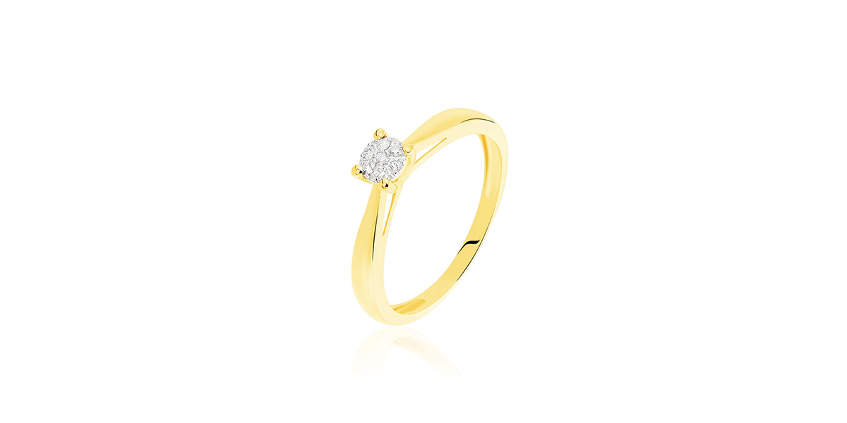 Bague solitaire grace or jaune diamant