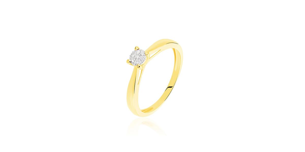 Bague solitaire grace or jaune diamant