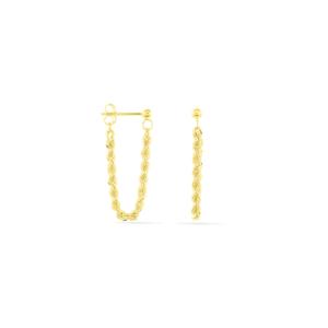 Boucles d'oreilles pendantes Jerry Corde or jaune