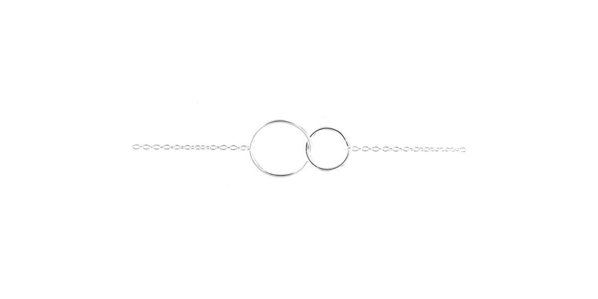 Bracelet 2 ronds entrelacés en argent véritable Elise et Moi