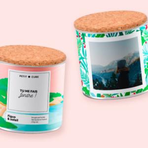 exemple bougie petit cube avec texte et photo personnalisés cadeau saint valentin