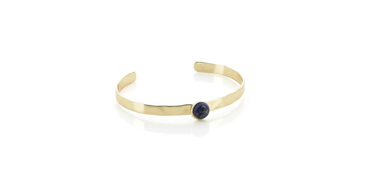 Bracelet jonc doré et lapis-lazuli